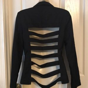 Black Cut Out Cage Back Edgy Blazer Size Small